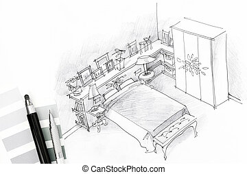Croquis chambre coucher crayon lit fen tre chambre - Croquis chambre a coucher ...