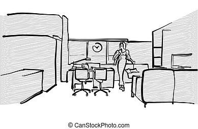 intérieur, croquis, scène, bureau