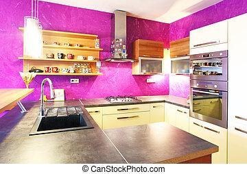 intérieur, -, cuisine