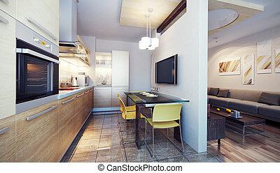 intérieur, cuisine, moderne, render, 3d
