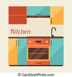 intérieur, cuisine, retro, carte, style.