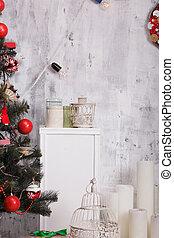 intérieur, décoré, noël