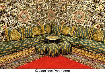 intérieur, décoré, oriental, salle