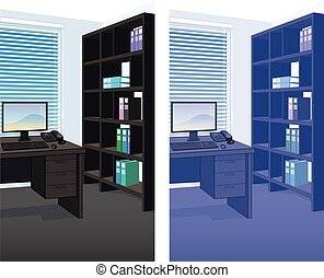 intérieur, détaillé, scène bureau, fond