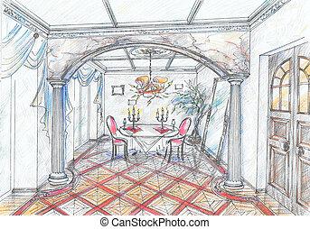 intérieur, dîner, croquis, salle