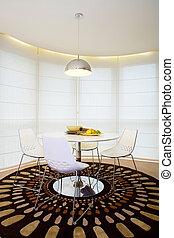 intérieur, dîner, moderne, table