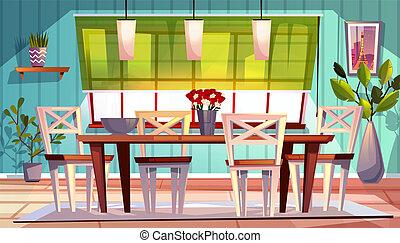 intérieur, dîner, vecteur, salle, illustration