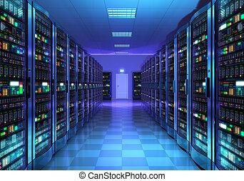 intérieur, datacenter, salle, serveur