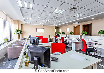intérieur, de, a, moderne, bureau