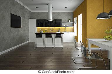 intérieur, de, a, moderne, cuisine, et, salle manger
