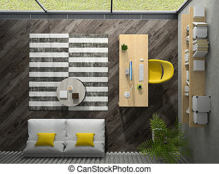 moderne au dessus bureau vue moderne vue au dessus bureau 3d. Black Bedroom Furniture Sets. Home Design Ideas