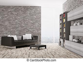 intérieur, de, habiter moderne, salle, 3d