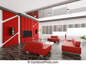 intérieur, de, habiter moderne, salle, 3d, render