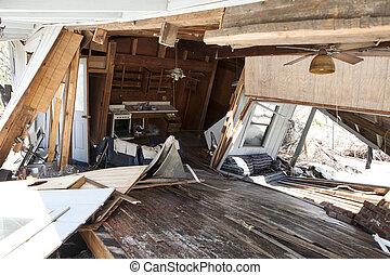 intérieur, de, inondation, endommagé, maison