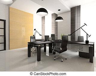 intérieur, de, les, cabinet, dans, bureau, 3d, rendering., vous, boîte, pendre, ton, illustration, sur, mur