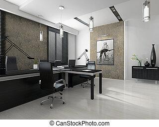 intérieur, de, les, moderne, bureau, 3d, rendre
