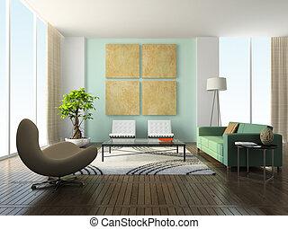 intérieur, de, les, moderne, salle séjour
