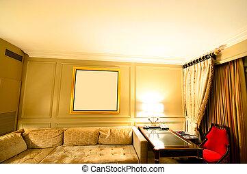 intérieur, de, les, salle moderne, dans, obscurité