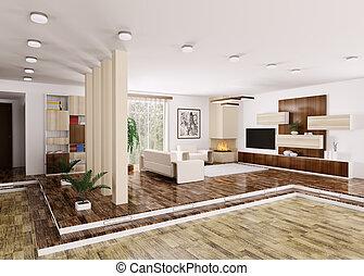 intérieur, de, moderne, appartement, 3d