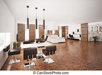 intérieur, de, moderne, appartement, 3d, render
