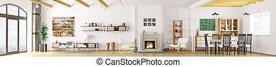 intérieur, de, moderne, appartement, 3d, rendre