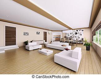 intérieur, de, moderne, appartement