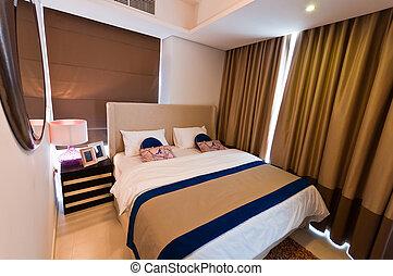 intérieur, de, moderne, appartement, -, chambre à coucher