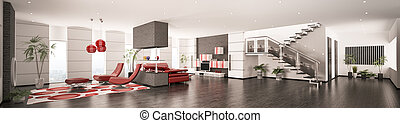 intérieur, de, moderne, appartement, panorama, 3d, render