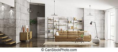 intérieur, de, moderne, appartement, panorama, 3d, rendre