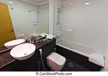 intérieur, de, moderne, appartement, -, salle bains