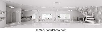 intérieur, de, moderne, blanc, appartement, panorama, 3d, render