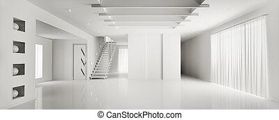 intérieur, de, moderne, blanc, appartement