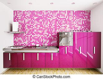 intérieur, de, moderne, cuisine, 3d, render