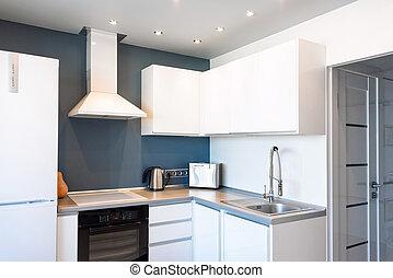 intérieur, de, moderne, cuisine, dans, a, spacieux, appartement
