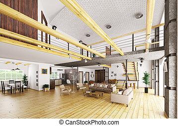 Style Chalet Confortable Maison Moderne Rendre 3d Montagne