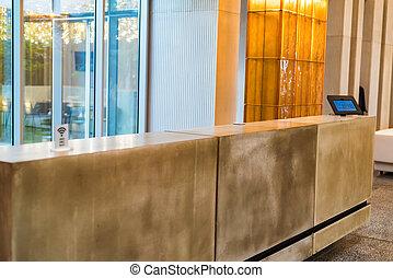 intérieur, de, moderne, secteur réception, dans, business, bâtiment