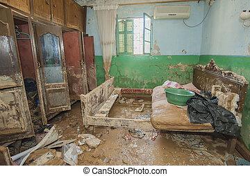 intérieur, de, pauvre, africaine, maison, suivre, inondation, désastre