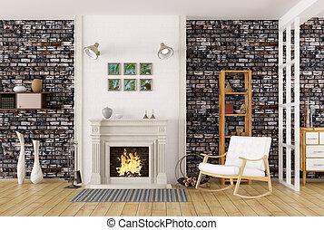 intérieur, de, salle de séjour, à, cheminée, 3d, rendre