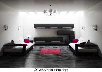 intérieur, de, salle de séjour, 3d