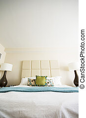 intérieur, double, salle moderne, lit