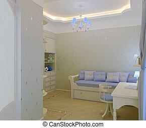 intérieur, enfant, chambre à coucher