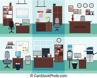 intérieur, ensemble, bureau, icône
