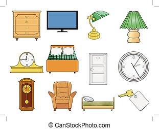 intérieur, ensemble, illustration, objets