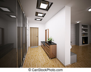 intérieur, entrée, moderne, salle, 3d