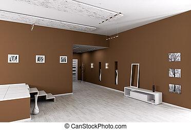 intérieur, entrée, moderne, salle