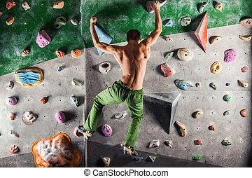 intérieur, escalade, bouldering, exercice, homme