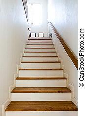 intérieur, escalier, bois, -, rampe