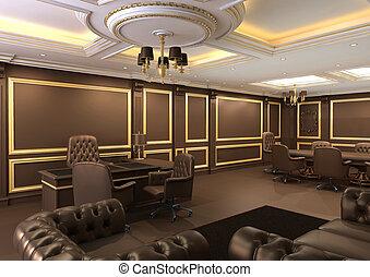 intérieur, espace bureau, royal, appartement, à, luxe, meubles