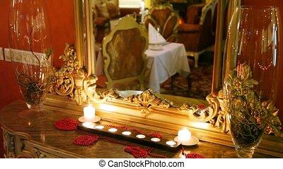 intérieur, est, miroir, reflété, restaurant