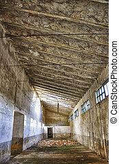 intérieur, exploitation minière, abandonnés, bâtiments